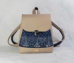 Batohy - modrotlačový batoh Martin béžový 1 - 12435390_