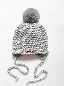 Detské čiapky - Sivá detská zimná čiapka s kožušinkou - 12433007_