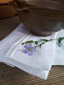 Úžitkový textil - Ľanový obrúsok Luxury Linen White - 12435622_