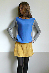 Svetre/Pulóvre - modrošedý pulover - 12434333_