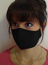 Rúška - Dizajnové rúško čierne antibakteriálna bavlna dvojvrstvové tvarované (Dámske tyrkysové vnútro) - 12436423_