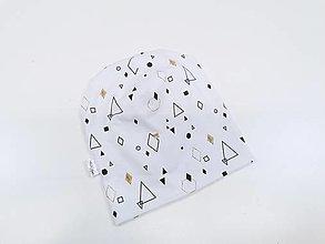 Čiapky - Dámska čiapka biela s geometrickými tvarmi - 12437623_