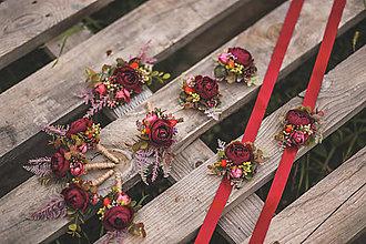 Ozdoby do vlasov - Svadobný set jesenný Bordo - pierka, hrebienok, brošne a náramky - 12440459_