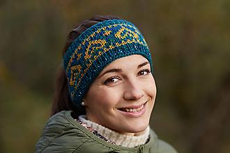 Čiapky - Smaragdovo-zelená čelenka s norskym vzorom - 12439229_
