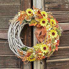 Dekorácie - Jesenný veniec so slnečnicami - 12436892_