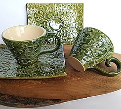 Nádoby - Zelené keramické šáločky s podšálkami- SADA - 12436602_