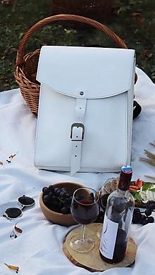 Batohy - Kožený batoh-biely - 12437382_