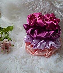 Ozdoby do vlasov - Saténové gumičky do vlasov-ružové - 12437508_