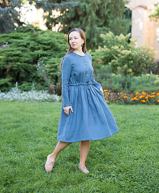 Šaty - Lněné šaty, modré - 12436853_