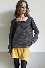 Svetre/Pulóvre - hnedomodrý pulover melír - 12437556_