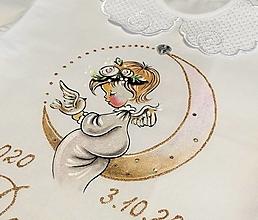 Detské oblečenie - košieľka na krst s anjelikom a mesiacom - biela - 12441751_
