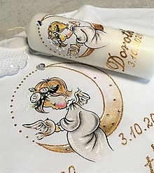 Svietidlá a sviečky - krstový set s anjelikom a mesiacom - biely - 12441761_