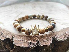 Náramky - Jaspis kalahari so zlatou korunkou. - 12440897_