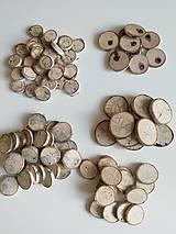 Dekorácie - Brezové kolieska prírodou maľované:) (v5 - priemer 3 - 3,5 cm, s výrazným podielom sivej farby dreva, s viacerými prírodnými dierkami) - 12441577_