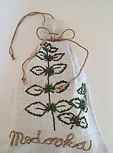 """Úžitkový textil - ľanové vrecko na bylinky """"Medovka"""" - 11945739_"""