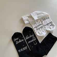 """Obuv - Sada maľovaných ponožiek s nápismi: """"Som ... / šťastný manžel/manželka"""" (biele + čierne) - 12443101_"""