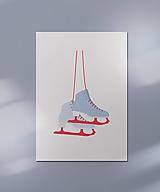 Grafika - Zimná kartička/pohľadnica, korčule - 12443040_