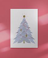 Grafika - Vianočná kartička, strom - 12443147_