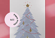 Grafika - Vianočná kartička, strom - 12443148_