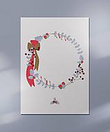 Grafika - Vianočná kartička, veniec - 12443184_