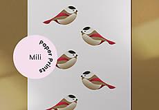 Grafika - Vtáčiky kartička/pohľadnica - 12443218_