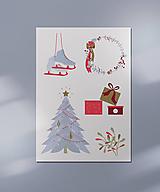 Grafika - Vianočná kartička, Vianočné radosti - 12443246_