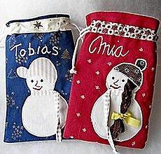 Úžitkový textil - Mikulášske vrecúška snehuliačikové - 12441569_