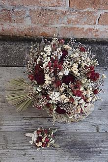 Kytice pre nevestu - Svadobná kytica zo sušených kvetov - 12446952_