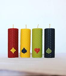 Svietidlá a sviečky - Štvorica dekorovaných včelých sviečok - 12445497_
