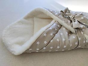 Textil - Vlnienka Klasická zavinovačka pre novorodenca zimná 100% MERINO TOP Hviezdička krémová - 12445386_