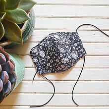 Rúška - Dámské dvouvrstvé rúško - gray flowers - 12449148_