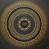 Obrazy - Mandala NEKONEČNÁ LÁSKA A ŠŤASTIE ♥ (gold-black) 50 x 50 (60 x 60 cm) - 12448341_