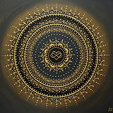 Obrazy - Mandala NEKONEČNÁ LÁSKA A ŠŤASTIE ♥ (gold-black) 50 x 50 (60 x 60 cm) - 12448342_