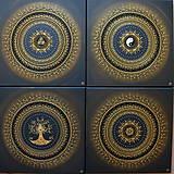 Obrazy - Mandala NEKONEČNÁ LÁSKA A ŠŤASTIE ♥ (gold-black) 50 x 50 (60 x 60 cm) - 12448343_