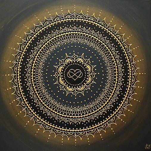 Mandala NEKONEČNÁ LÁSKA A ŠŤASTIE ♥ (gold-black) 50 x 50 (60 x 60 cm)