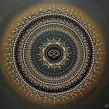 Obrazy - Mandala NEKONEČNÁ LÁSKA A ŠŤASTIE ♥ (gold-black) 50 x 50 - 12448341_