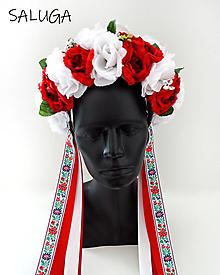 Ozdoby do vlasov - Kvetinová parta - čelenka - folklórna - červená - 12444859_