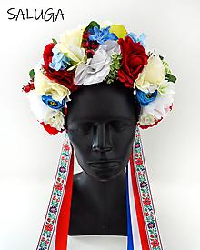 Ozdoby do vlasov - Kvetinová parta - čelenka - folklórna - ľudová - do vlasov - 12444869_