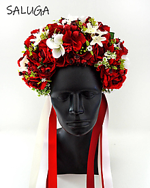 Ozdoby do vlasov - Kvetinová parta - čelenka - folklórna - červená - 12444873_