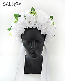 Ozdoby do vlasov - Kvetinová parta - čelenka - folklórna - biela - svadobná - 12444893_