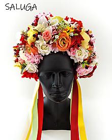 Ozdoby do vlasov - Kvetinová parta - čelenka - folklórna - jesenná - červená - 12444900_