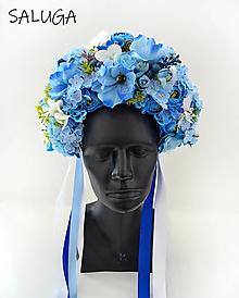 Ozdoby do vlasov - Kvetinová parta - čelenka - folklórna - modrá - biela - 12444913_