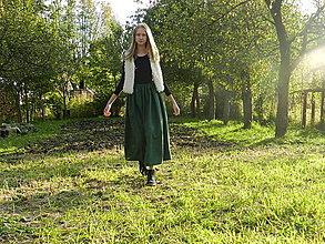 Sukne - Ľanová sukňa - tmavo zelená / Rezervácia/ - 12444891_