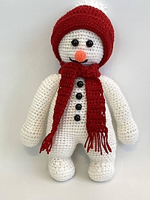 Dekorácie - Snehuliak háčkovaná hračka/ dekorácia - 12447998_