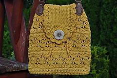 Kabelky - Háčkovaná kabelka žlto-horčicová - 12452040_