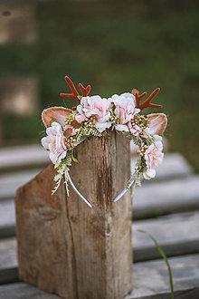 Ozdoby do vlasov - Vianočná kvetinová čelenka sobík ružová - 12449750_