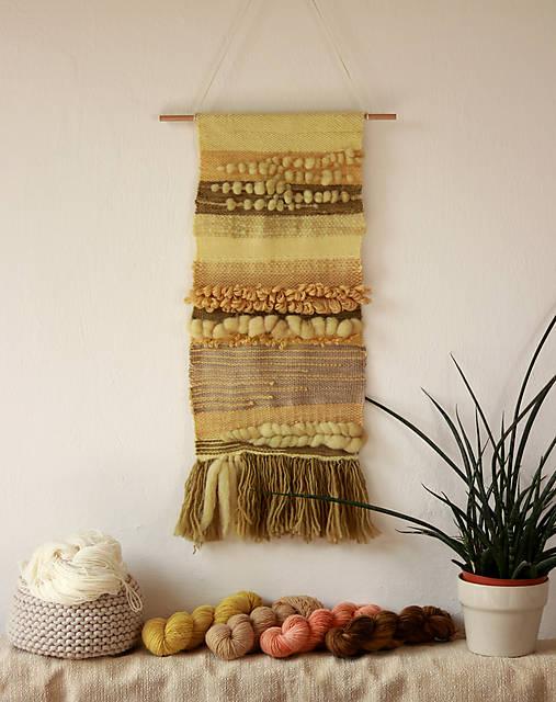 POLIA slnkom bozkané - Ručne tkaná vlnená tapiséria