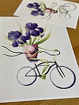 Grafika - Iris na bicykli - Print | Botanická ilustrácia - 12452910_