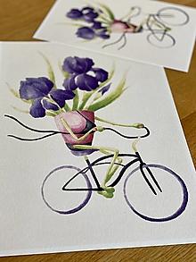 Grafika - Iris na bicykli - Print | Botanická ilustrácia (A5) - 12452910_