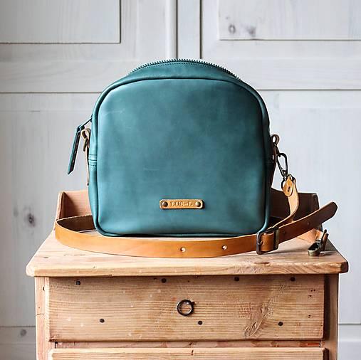 Kabelky - Dámska kožená kabelka *Teal Green* - 12451919_